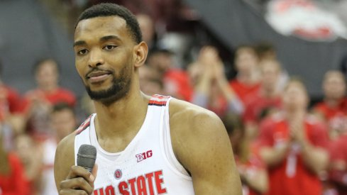 Keita Bates-Diop addresses Ohio State's home crowd on Senior Night.
