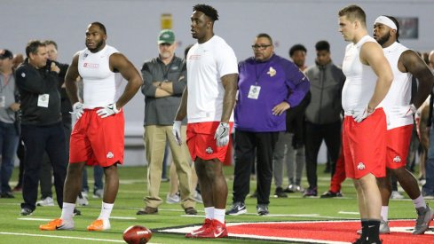 Tyquan Lewis, Jalyn Holmes and Sam Hubbard at pro day