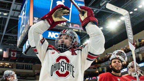 Buckeye defenseman Sasha Larocque celebrates Ohio State's second ever trip to the Frozen Four.