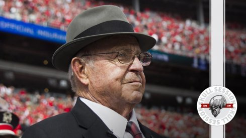 Earle Bruce smiles down on the April 25 2018 Skull Session