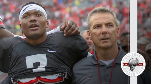 Dwayne Haskins and Urban Meyer sing Carmen Ohio for the March 5 2018 Skull Session