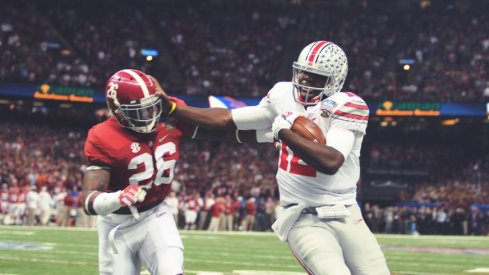 Ohio State's Cardale Jones with the stiff arm in the 2014 Sugar Bowl