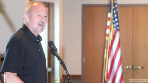 Thad Matta speaks at the Agonis Club banquet in Westerville.