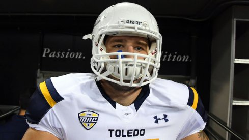 Toledo's Adam Kulon takes the field before a 2016 game.