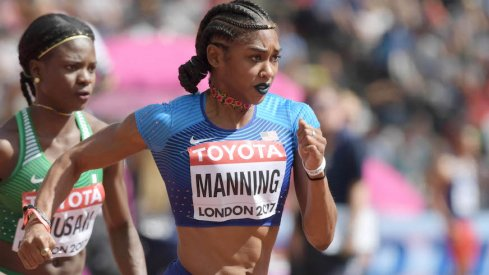 Christina Manning competing in the 2017 IAAF World Championships.