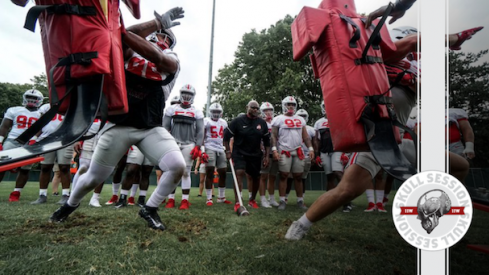 Dre'Mont Jones and Nick Bosa shed blocks into the Monday Skull Session.
