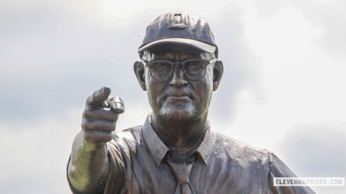 The statue of Woody Hayes dedicated at Newcomerstown, Ohio on August 18, 2018