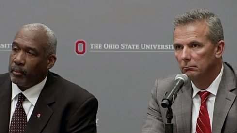 Gene Smith and Urban Meyer at Ohio State's press conference Wednesday night