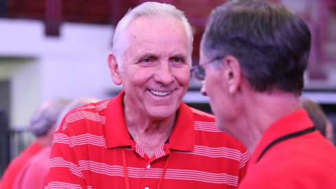 Former Ohio State basketball great Jerry Lucas has a conversation before Friday's dinner, put on by Chris Holtmann, at the Schottenstein Center.