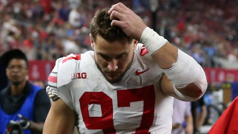 Nick Bosa is out after suffering an abdominal injury