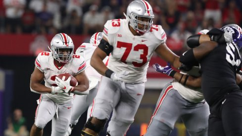 Michael Jordan blocking for J.K. Dobbins against TCU.
