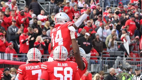 K.J. Hill celebrates the Buckeyes' final touchdown of the game.