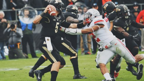 Purdue QB is sacked.