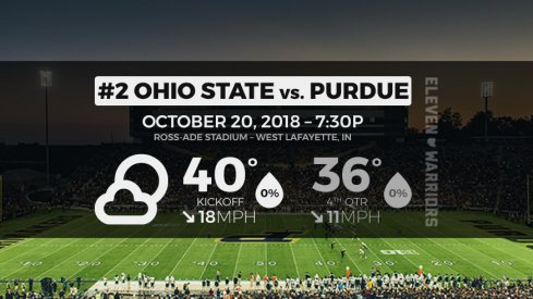 Weather forecast between the No. 2 Ohio State Buckeyes and Purdue Boilermakers in West Lafayette.