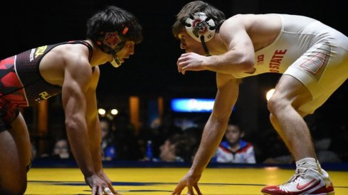 Joey McKenna, right, defeated Oklahoma State's Kaid Brock at the NWCA All-Star Classic