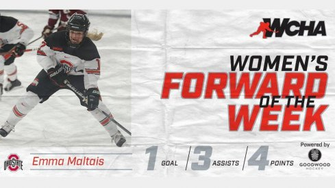 Emma Maltais led Ohio State with four points against St. Cloud. She's the WCHA's Forward of the Week.