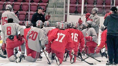 Ohio State men's ice hockey at practice.