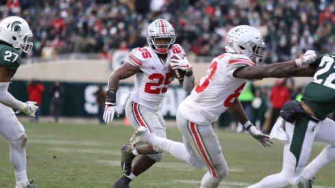 Mike Weber had the hot hand and took advantage of a number of open lanes outside against Michigan State.