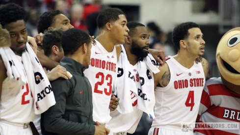 Ohio State celebrates their basketball win over Purdue Fort Wayne.