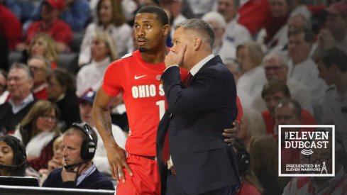 Ohio State men's basketball player Luther Muhammad and coach Chris Holtmann