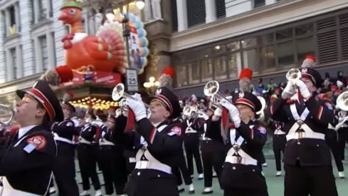 The Ohio State University Marching Band performing in the 2018 Macy's Thanksgiving Day Parade in New York City