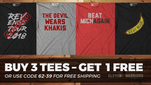 Buy 3 tees, get 1 free at Eleven Warriors Dry Goods Today.