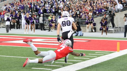 Austin Carr scores a touchdown in the Shoe.