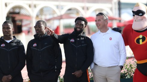 Terry McLaurin, Johnnie Dixon, Parris Campbell, Urban Meyer and Mr. Incredible