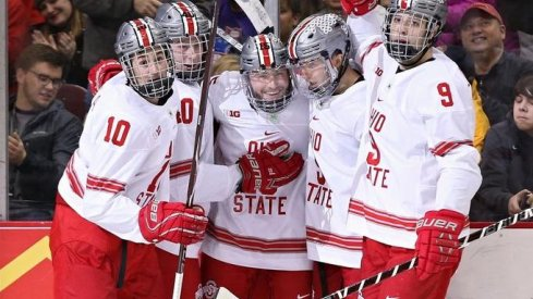 The Buckeyes celebrate a goal in their 5-4 win over Mercyhurst.