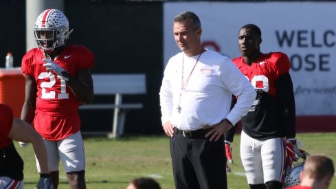 Parris Campbell, Urban Meyer and Demario McCall during Ohio State practice.