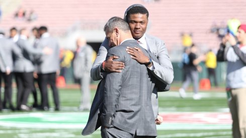 Urban Meyer and Dwayne Haskins