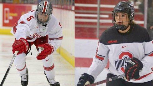 Defenseman Gordi Myer and forward Tatum Skaggs help lead the hockey Buckeyes into battle.