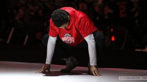 Ke-Shawn Hayes pauses before his match vs. Michigan's Alec Pantaleo, Jan. 25, 2019.