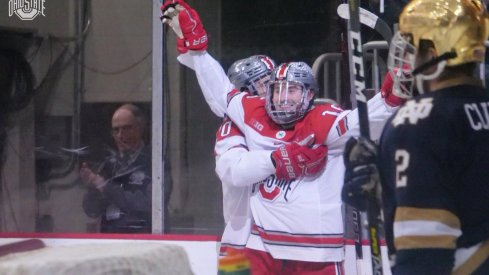 Freddy Gerard celebrates one of his two goals against Notre Dame.