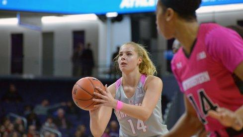 Dorka Juhasz lines up a free throw against Northwestern.