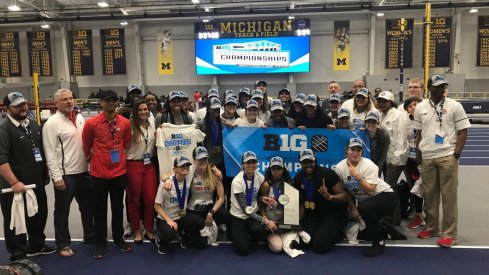 OSU's women's track and field team celebrate their Big Ten Championship
