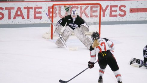 Emma Maltais lines up the game winning goal in overtime of Game 1 against Minnesota State.
