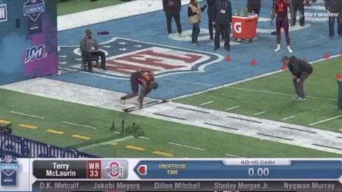 Terry McLaurin runs an unofficial 4.36 40-yard dash.