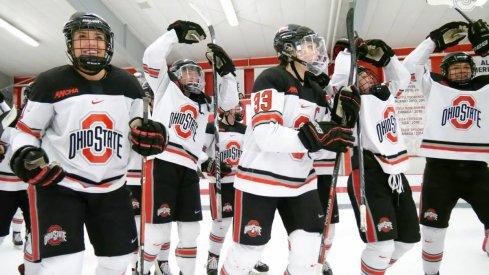 The women's hockey Buckeyes celebrate their WCHA quarterfinal win over Minnesota State.