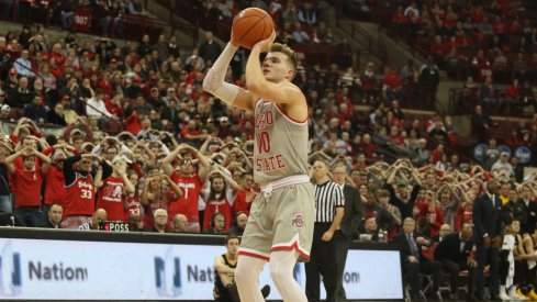 Justin Ahrens takes a free throw on his career-high night.