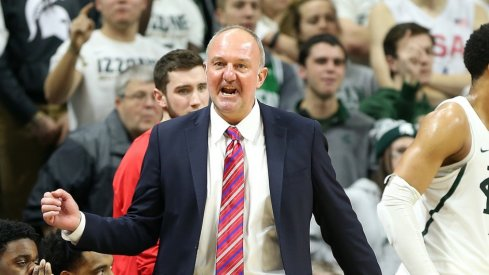 Feb 14, 2017; East Lansing, MI, USA; Ohio State Buckeyes head coach Thad Matta reacts to a play during the second half of a game against the Michigan State Spartans at the Jack Breslin Student Events Center. Mandatory Credit: Mike Carter-USA TODAY Sports