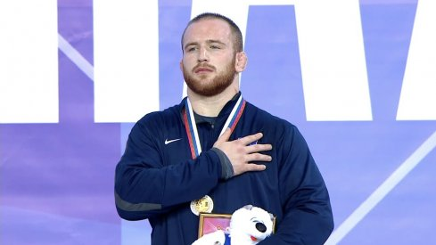 Snyder is awarded his gold medal.