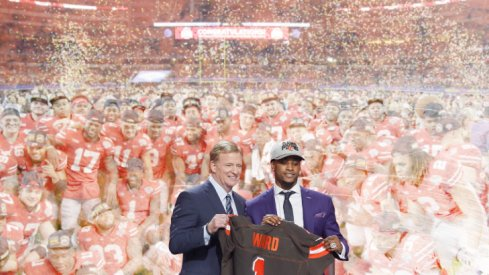 Apr 26, 2018; Arlington, TX, USA; Denzel Ward (Ohio State) is selected as the number four overall pick to the Cleveland Browns in the first round of the 2018 NFL Draft at AT&T Stadium | Dec 29, 2017; Arlington, TX, USA; Ohio State Buckeyes players pose for a photo after the game against the USC Trojans in the 2017 Cotton Bowl at AT&T Stadium