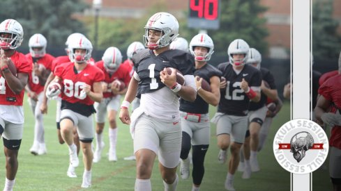 Justin Fields is at the front of the line in today's skull session.