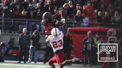 Former Ohio State wide receiver Terry McLaurin catches a pass against Nebraska