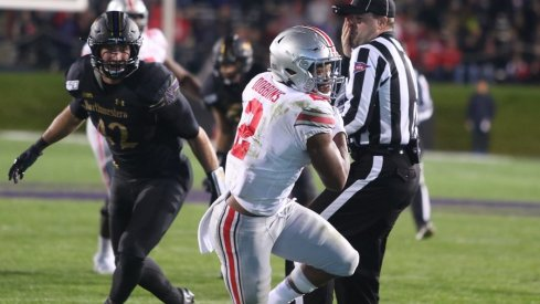 J.K. Dobbins hauled in his fifth career touchdown catch off a 'Texas' route out of the backfield.