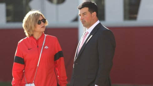 Ryan Day and Ohio State deputy athletics director Diana Sabau