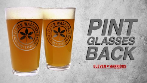 Pint glasses are back in stock at Eleven Warriors Dry Goods (whiskey glasses, too).