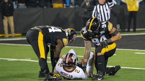 A.J. Epenesa and the Hawkeye defensive line was too much for Tanner Morgan and the Gophers.