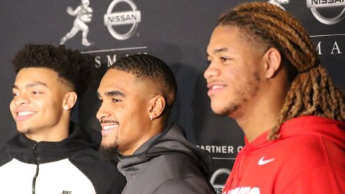 Justin Fields, Jalen Hurts and Chase Young at the Heisman Trophy ceremony